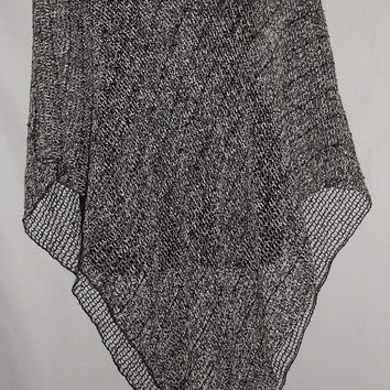 Vintage 80s 90s Cozy Grey Black Woven Shawl With Clear Sparkle Sequins One Size Kawaii Cute Festival Boho
