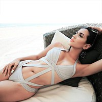 Hollow Halter Crisscross One Piece Swimwear Bikini Swimsuit