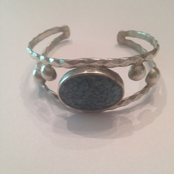 Vintage Turquoise Silver Cuff Bracelet Boho Mexico Jewelry 18 grams