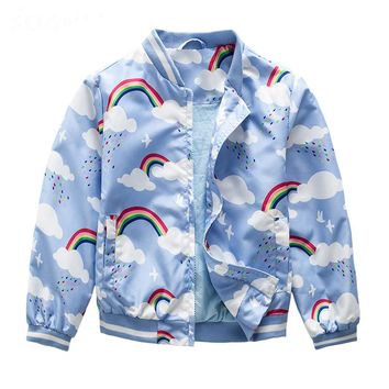 New Autumn children clothes girls Outerwear Jacket coats rainbow print Children Windbreaker Trench Coat for baby girls jackets
