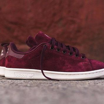 Adidas Stan Smith Suede Burgundy  - Beauty Ticks