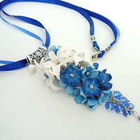 Flower pendant, Blue and white, flower necklace, Wedding Jewelry, handmade jewelry, cobalt color