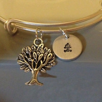 Tree of Life Family Charm Bracelet with Hand Stamped Stick Figure Family Charms / Adjustable Hand Stamped Personalized Family Bracelet