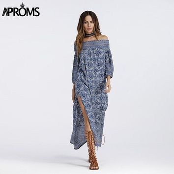 Aproms Blue Floral Print Off Shoulder Dress Boho Elegant 3/4 Sleeve Side Split Sundress Ladies Casual Summer Maxi Dress Vestidos