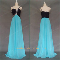 Charming Water & Black Chiffon Rhinestone One Shoulder Prom Dress