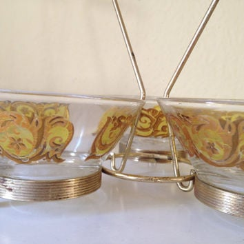 Mid Century Modern Glass Bowls Server with Metal and Teak Caddy Holder Carrier Candy or Condiment Set Barware