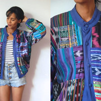 Vtg Mix Tribal Print Button Up Cotton Guatemalan Jacket