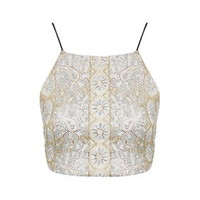 Gold Beaded Embellished Bralet - Gold