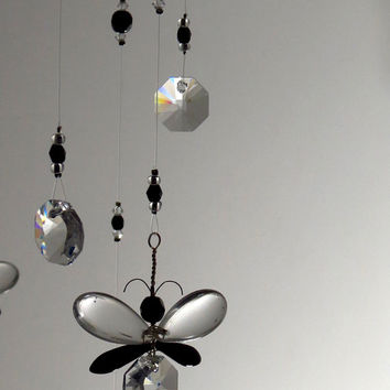 Black Butterfly Crystal Chandelier Mobile Girls Room Decor Idea Swarvoski Crystal Mobile Suncatcher Hanging Crystal Garland Gift for Women