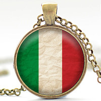 Italian Flag Necklace, Italy Jewelry, Flag of Italy Pendant, Your Choice of Finish (1731)