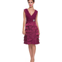 Burgundy Ruffle Chiffon Modest Dress
