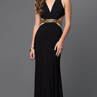 Black V-Neck Sleeveless Prom Dress with Open Back and Side Cut-Outs