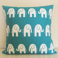 Elephant Pillow Cover. Decorative Pillow. 18 X 18 Inch Toss Pillow. True Turquoise. Baby Nursery.