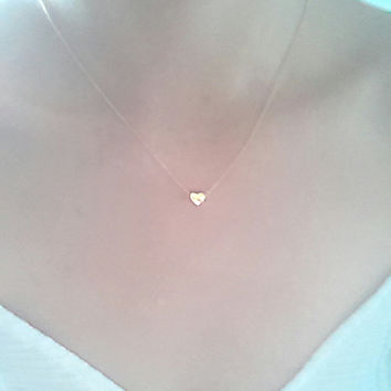 Gold Heart Necklace / Tiny Heart Pendant on a Gold Filled Chain / Sweet Heart- 24k gold heart bracelet