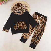 Baby Kids Set Long Sleeve Leopard Print Tracksuit Top + Pants Outfits Set Kids clothing #YL