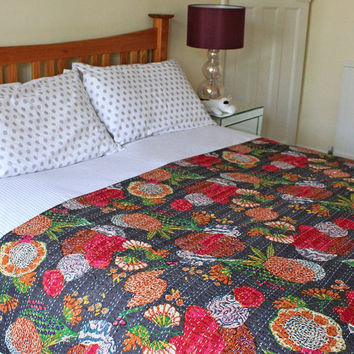 Indian Black Tropical Fruit Kantha , Reversible Bedspread Handmade Cotton Bedsheet Home Décor