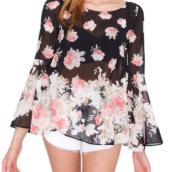 Falling Flowers Top - Black Print