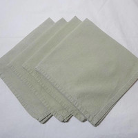 4 Vintage 1960s Pale Green Cotton Dinner Napkins, 17.5 In. Square, Herringbone Weave, Medium Weight, Vintage Dinner Linens, Casual Dining