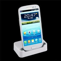 Desktop Sync Charger Dock Station/Cradle For Samsung Galaxy SIII S3 i9300-White