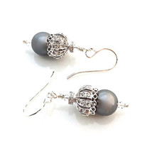Pearl Drop, Grey, Rhodium, Ornate Earrings, Filagree, Sterling Silver, Cubic Zirconia