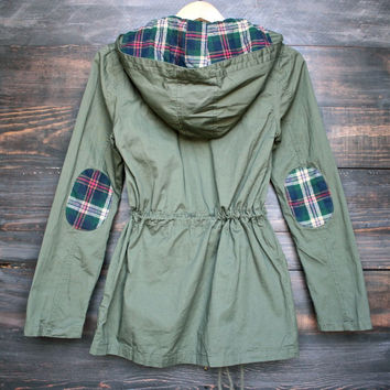 2016 Spring Autumn European Style womens plaid hooded military parka jacket in olive green ZM0089