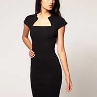 ASOS | ASOS Ponti Pencil Dress With Pleat Neck at ASOS