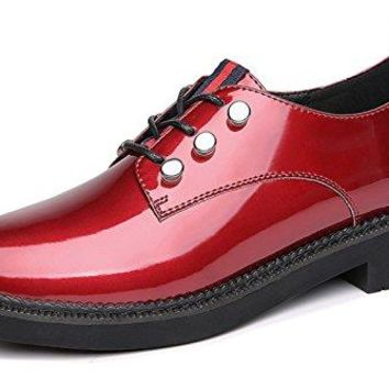 GUCIHEAVEN Women's Perforated Lace-up Wingtip Leather Flat Oxfords Vintage Oxford Shoes Brogues Red