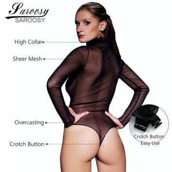 2017 New Sexy Black Sheer BodySuit for Women High Neck Collar Long Sleeves with Crotch Button Leotard Teddies Netting Spandex