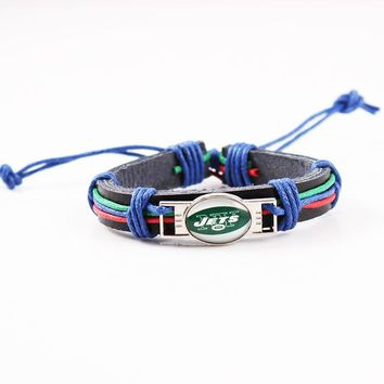 Cotton Rope Leather Sport Bracelet For Man Women New York Jets Charms Bracelet Genuine Leather Jewelry 6pcs/lot