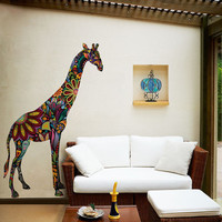 Giraffe Wall Graphic Sticker Decal - Colorful Floral Giraffe Wall Mural (stk1104)