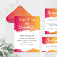 Watercolor Wedding Invitation Suite Templates Envelope Liners Printable Wedding Invitation, Details, Thank You, RSVP, DIY You Print