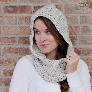 Hooded Cowl - Tweed - chunky - scarf - neck warmer - cowl - crochet - hood - oatmeal - women hat - winter hat - beanie