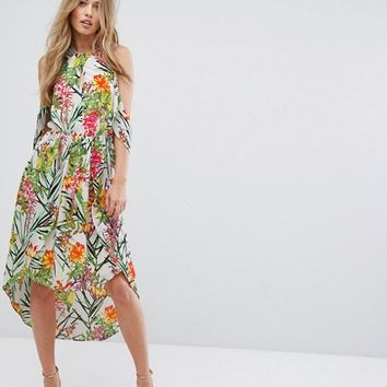 Adelyn Rae Lianna Hi-Low Printed Cold Shoulder Dress at asos.com