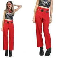 70s Cherry Pie High Waisted Slacks - Wide Leg Pants - Red Trousers - 70s Clothing - Vintage Womens Pants - Mod Rock and Roll - 70s Pants 28W