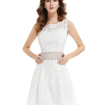 Ever Pretty Cocktail Party Dresses AP05409WH Cute Roud Neck Knee-Length Casual White Short Casual Dresses  2016 New Fashion