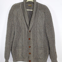 Ireland Vintage Gray Cardigan Sweater New Wool Chunky XL Falcarragh