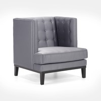 Noho Arm Chair In Silver Satin Fabric