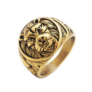 Punk King Lion Ring Vintage Gold Color Titanium Stainless Steel Men Signet Rings for Men Jewelry