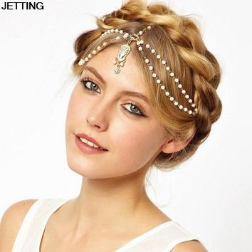 Hot Sale Wedding Hair Band Head Dress Headbands Indian Boho White Beaded Head Piece Women Head Chain