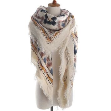 DKF4S Brand Woman Fashion geometric Print Square Scarf Warm Winter Cashmere Fringed Blanket Scarf  Shawl ladies Scarves