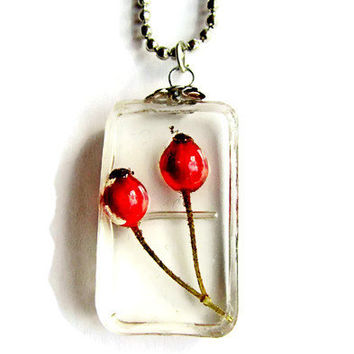 """Red Fruit Necklace - Real Fruit Pendant - Eco resin jewelry -  Real fruit jewelry  - Red Statement Necklace  """"The world was built for two"""""""