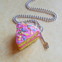 pastel pink cake slice with fork charm by ScrumptiousDoodle