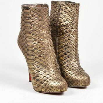 HCXX Gold Christian Louboutin Python Leather   Feticha Booty 120   Ankle Boots