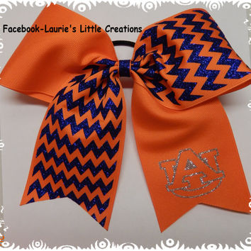 Auburn Orange and blue glitter chevron Cheer Hair Bow  Hairbows Cheerleading Dance Personalized