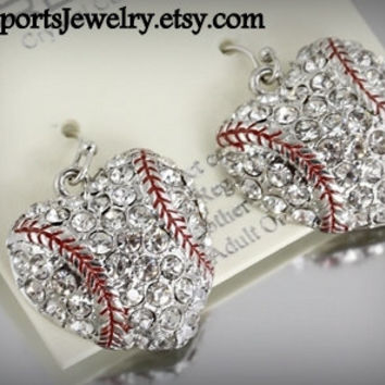 Baseball Heart Rhinestone Earrings