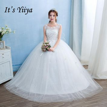 Free Shipping Vestidos De Novia Real Photo Cheap White Lace with Flowers Wedding Dress O-Neck Lace up Bridal Gowns Frocks HS237