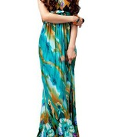 TopTie Floral Print Silky Long Maxi Dress, Green, One Size