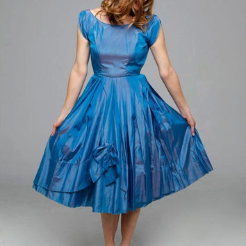 Dinner Party dress  | vintage 1950s dress • blue taffeta party 50s dress