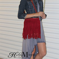 Studded Fringe Red Suede Shoulder Bag - HaileyMason, LLC Store