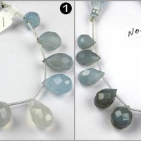 blue chalcedony faceted teardrop beads Briolettes Warm Ocean Blue Color chalcedony